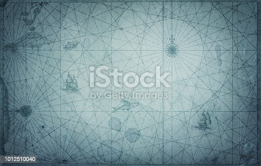 istock Ancient vintage blue map background. 1012510040