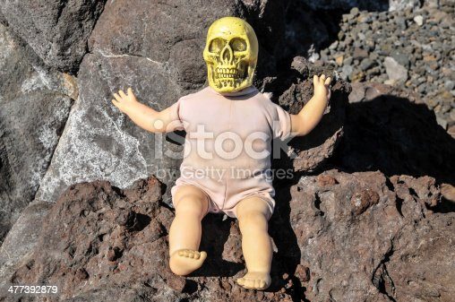 istock Ancient Vintage Old Doll with Human Skull 477392879