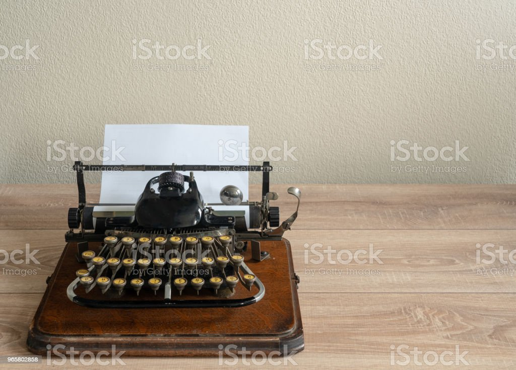 Ancient vintage portable typewriter with non qwerty keyboard - Royalty-free Above Stock Photo
