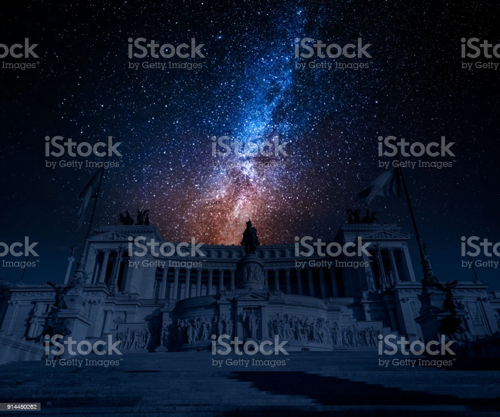 Ancient Vittorio Emanuele II at night with stars, Rome, Italy stock photo