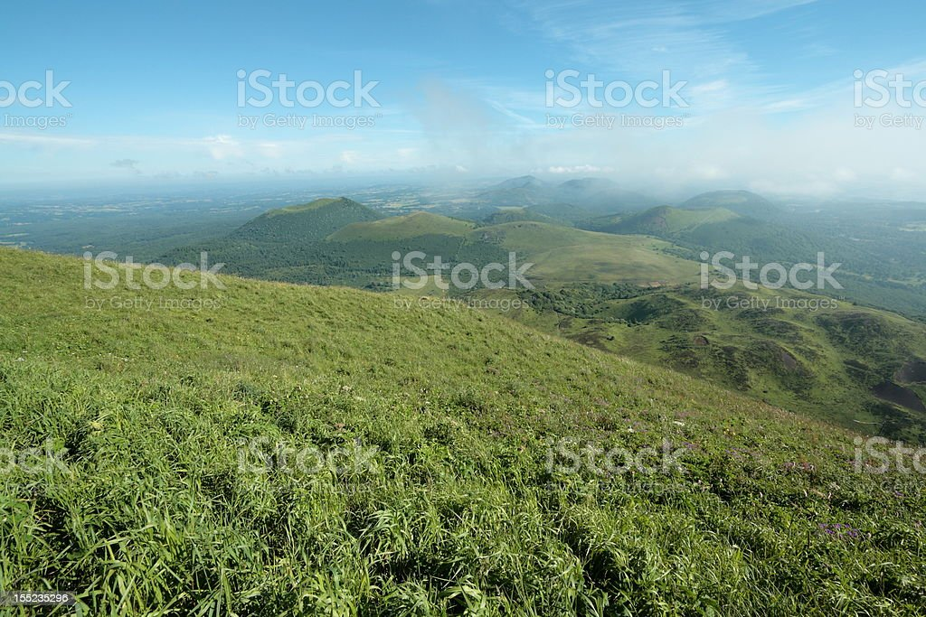 Ancient volcano in France stock photo