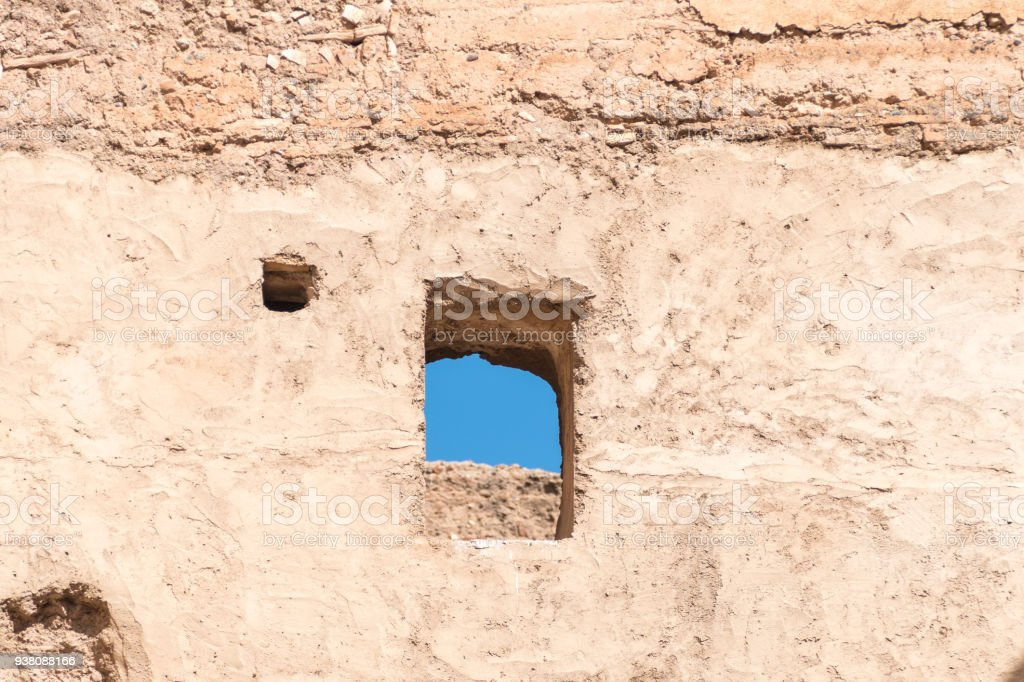 Ancient wall detail of 16th Century El Badi in Marrakesh stock photo