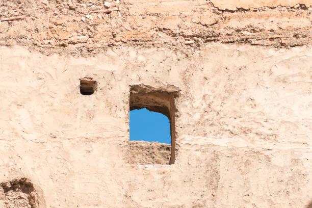Ancient wall detail of 16th Century El Badi in Marrakesh stock photo