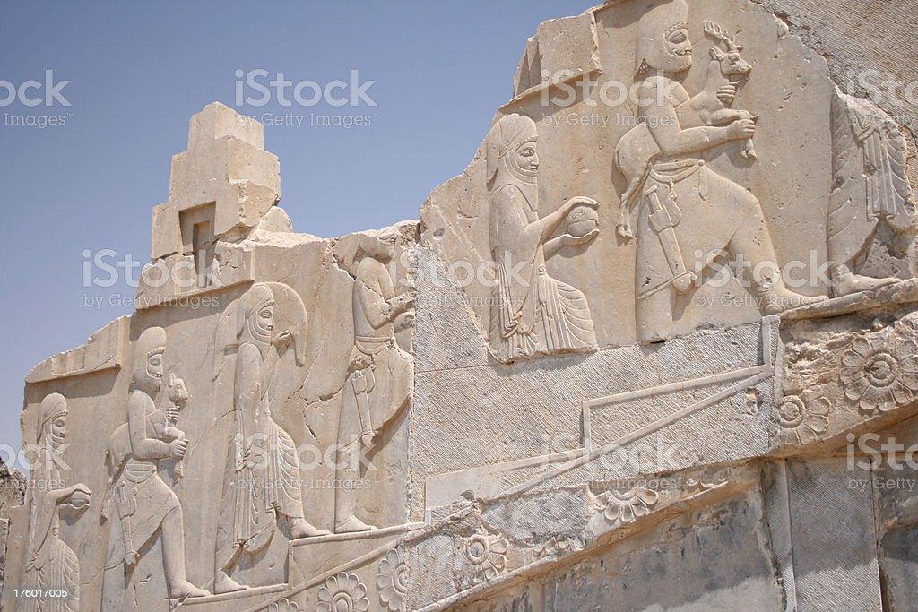 Antiga muralha em Persépolis pela Unesco Irã - foto de acervo
