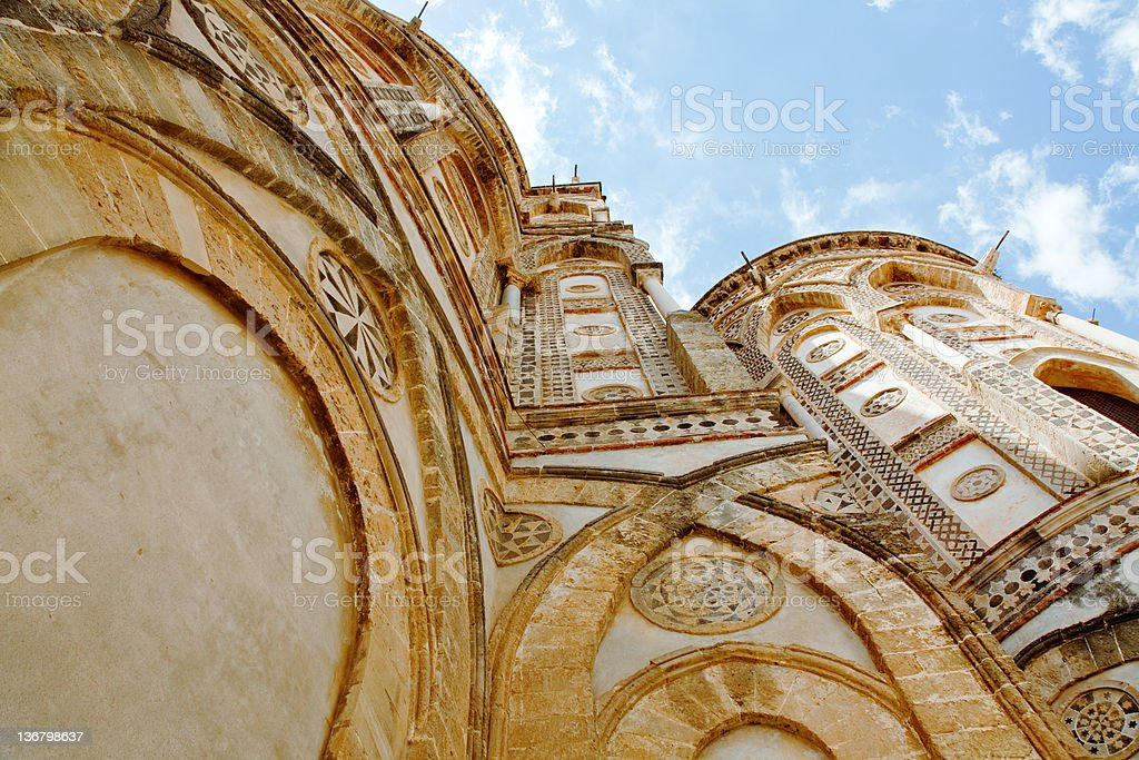 ancient wall of norman style Duomo di Monreale, Sicily stock photo