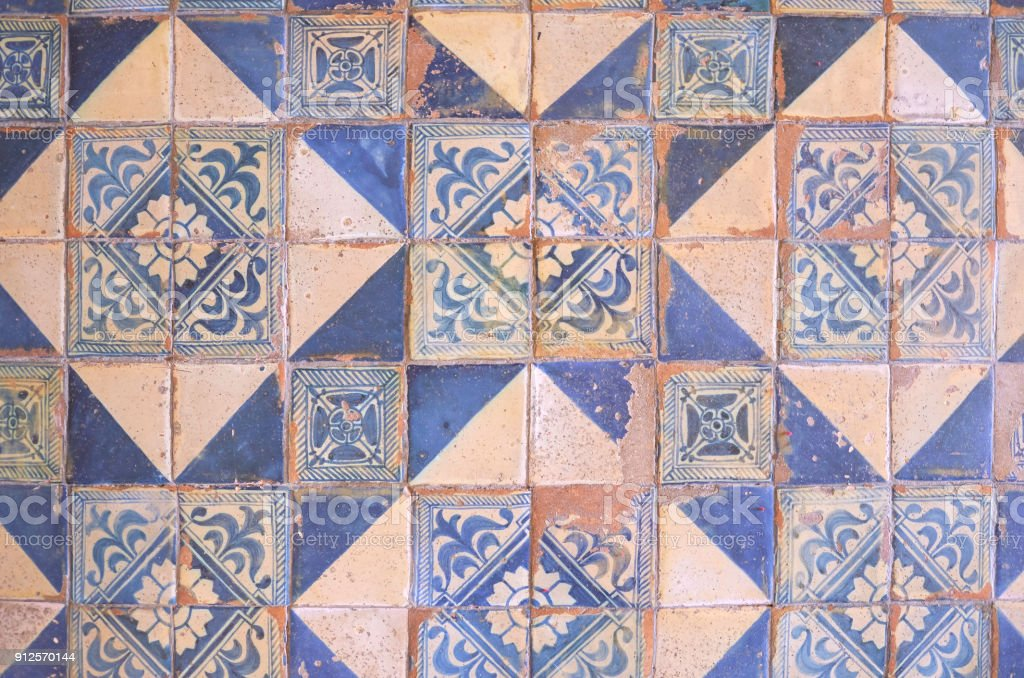Ancient wall of patchwork pattern from colorful moroccan
