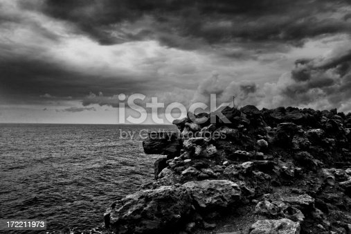 Ancient wall overlooking sea view.