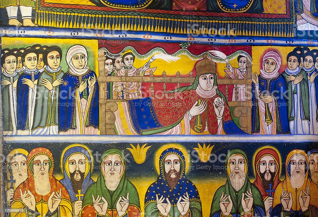 Ancient wall painting in an Orthodox Church, Axum, Ethiopia stock photo
