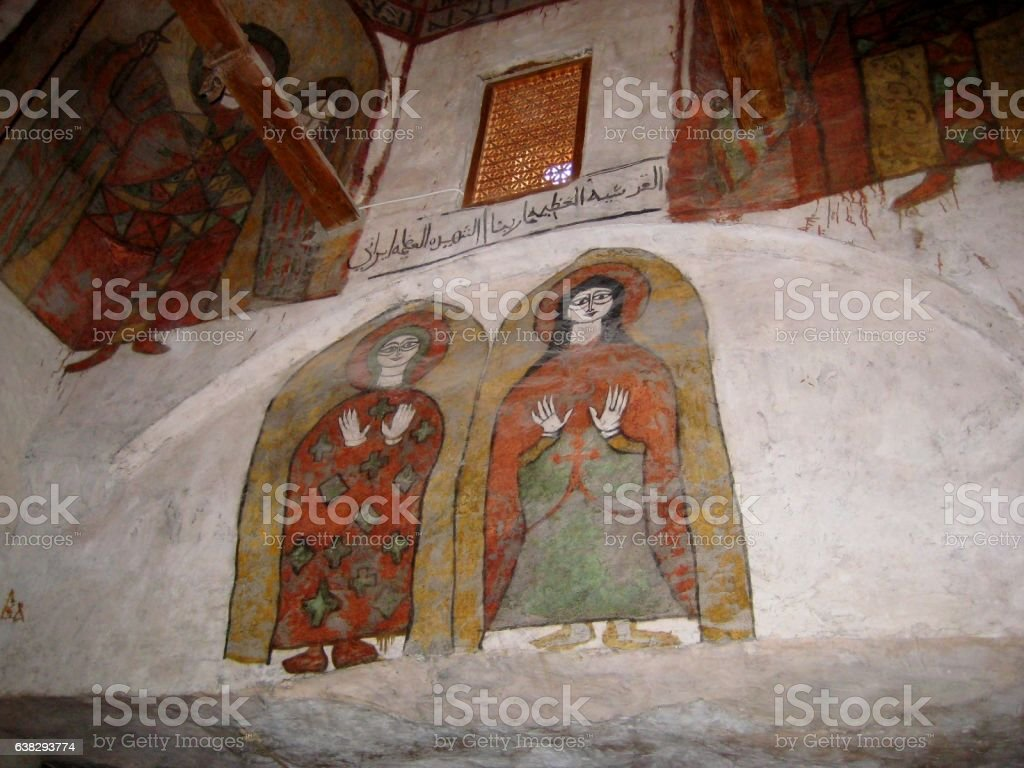 ancient wall painting of a Christian monastery of Egypt stock photo