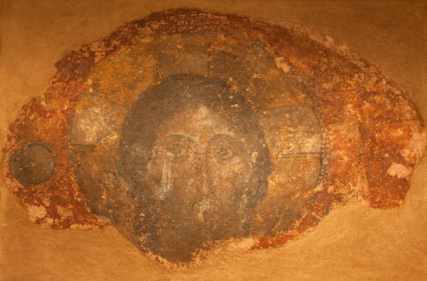 Ancient wall painting with Christ Pantokrator stock photo