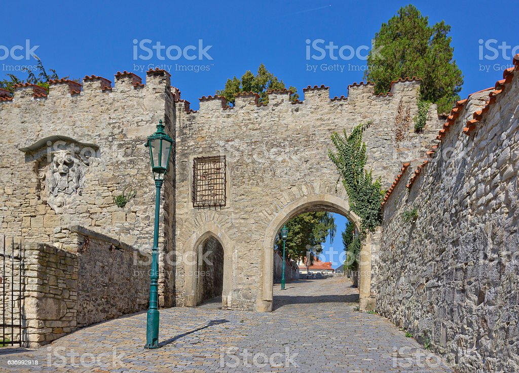 Ancient wall with gate in Kutna Hora, Czech Republic stock photo