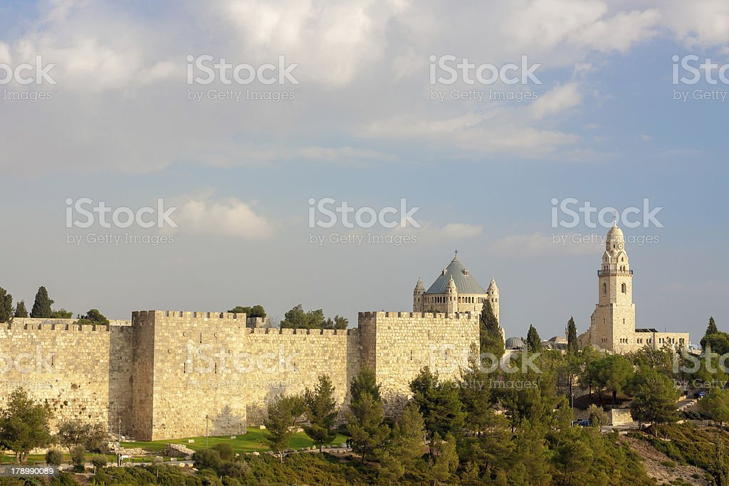 Ancient walls and temples of Jerusalem royalty-free stock photo