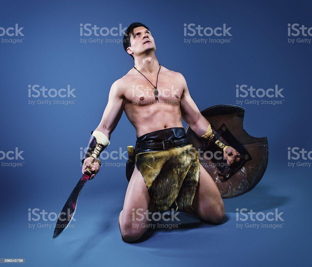 Ancient warrior  barbarian. stock photo