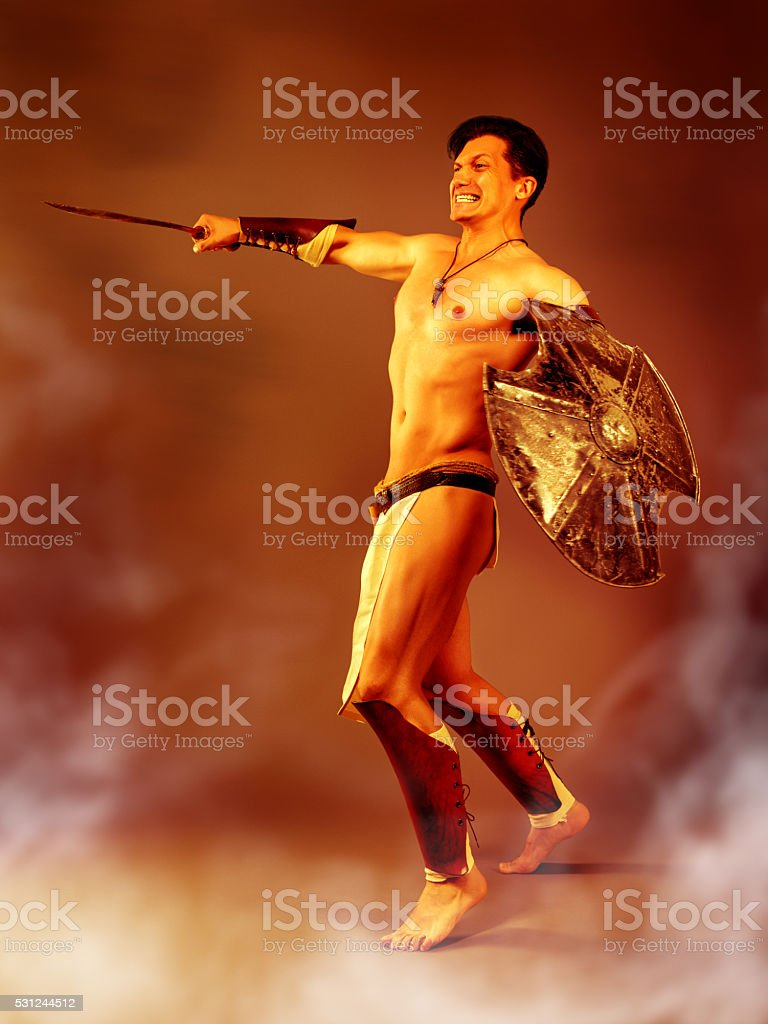 Ancient warrior in the heat of battle. stock photo