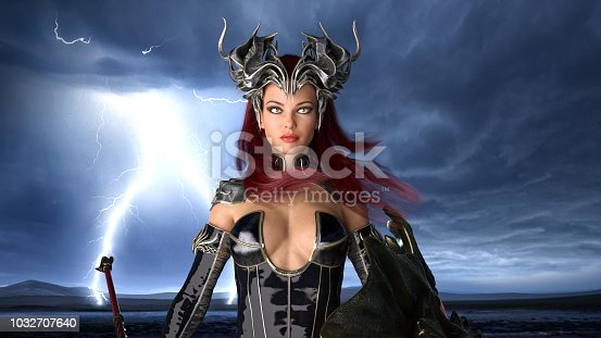 istock Ancient warrior queen, female fantasy fighter in battle armor with crown, portrait, 3D render 1032707640