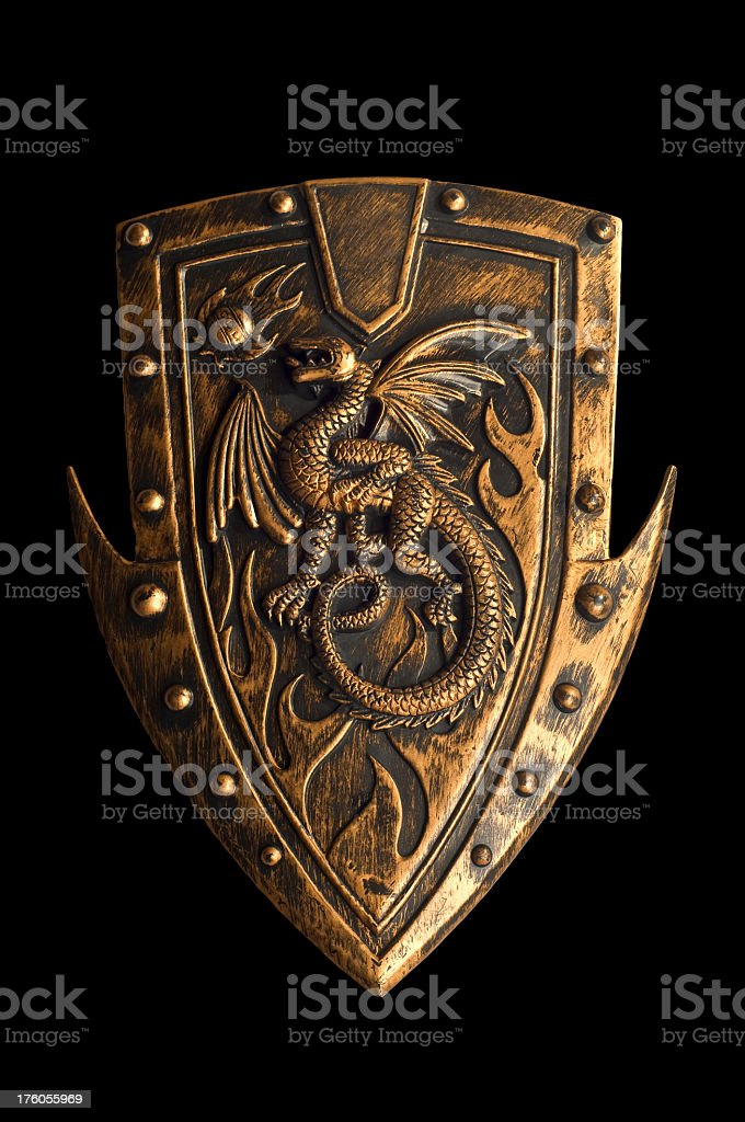 Ancient warrior shield stock photo