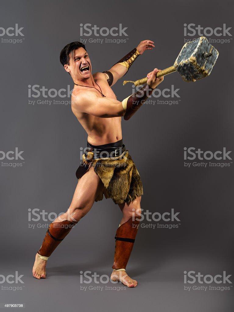 Ancient warrior. Shock battle hammer stock photo