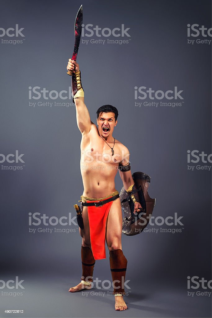 Ancient warrior. Shout of victory stock photo