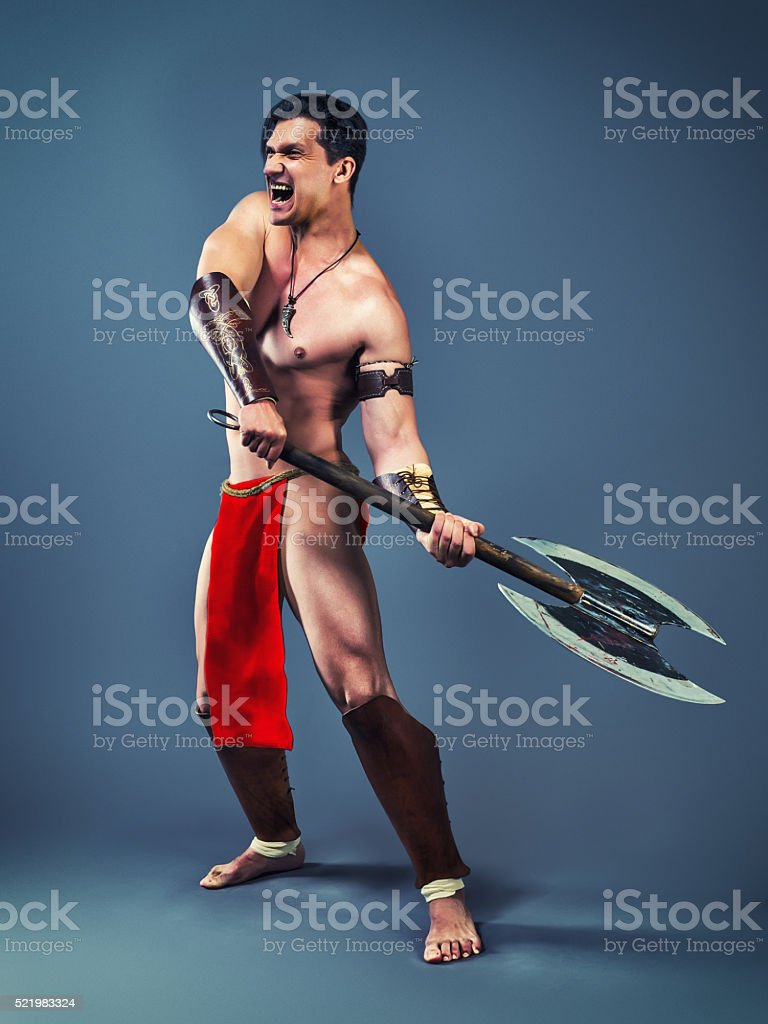 Ancient warrior with an axe stock photo