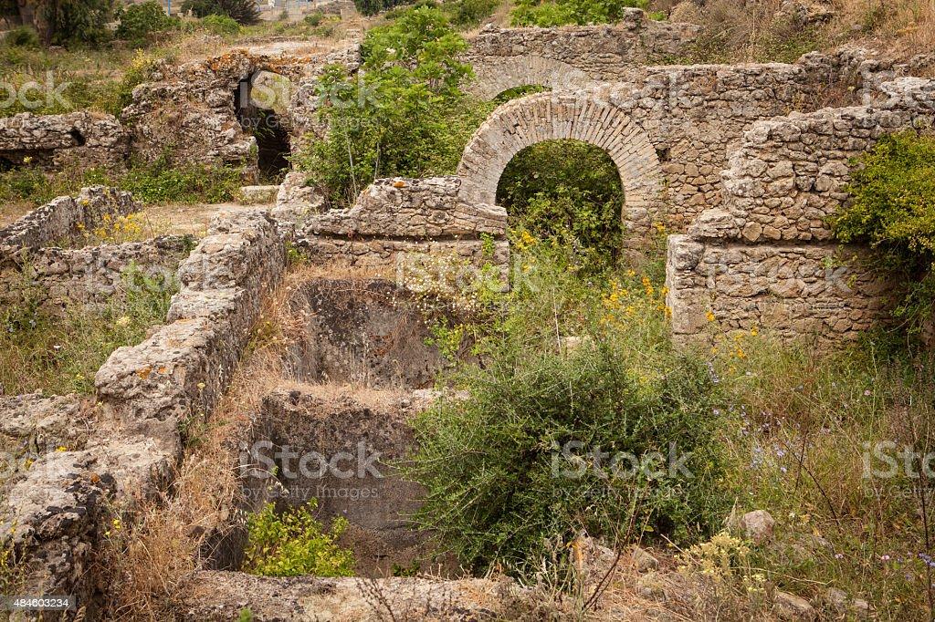 Ancient waterway at Roman ruins of Lixus. stock photo