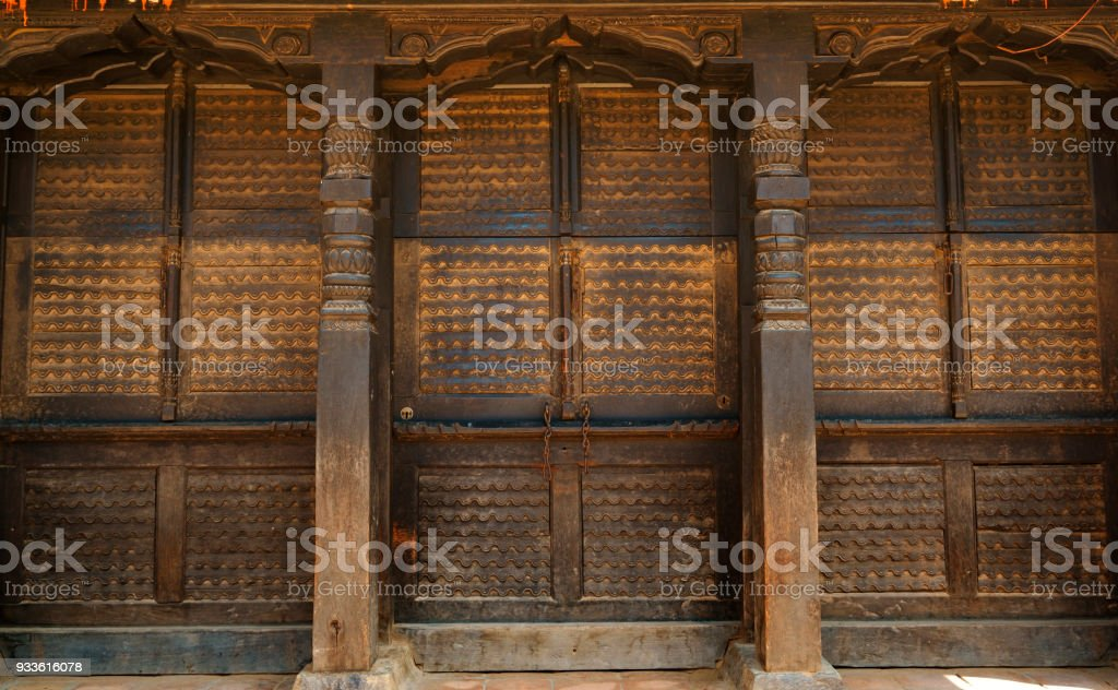 Ancient Weathered Carved Wooden Entrance Doors In Old Town Bhaktapur Stock Photo Download Image Now Istock