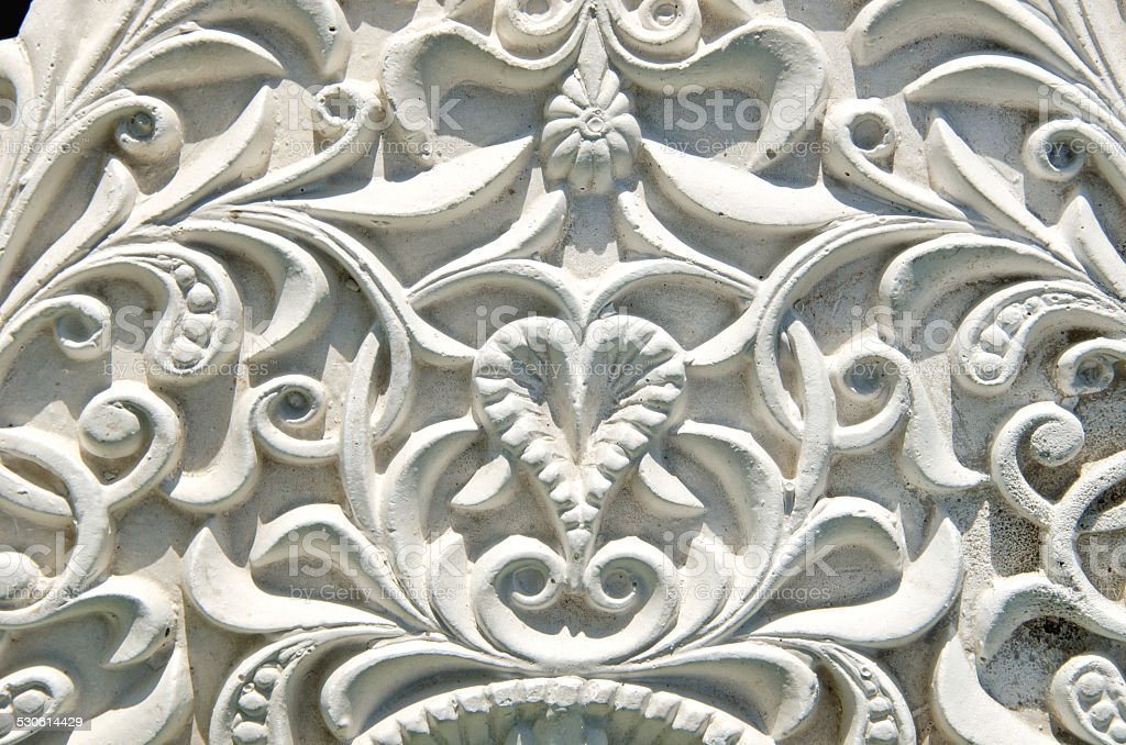 ancient  white wall design with mouldings decor stock photo