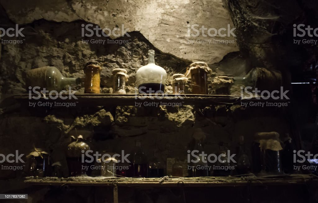 Ancient witchcraft objects stock photo