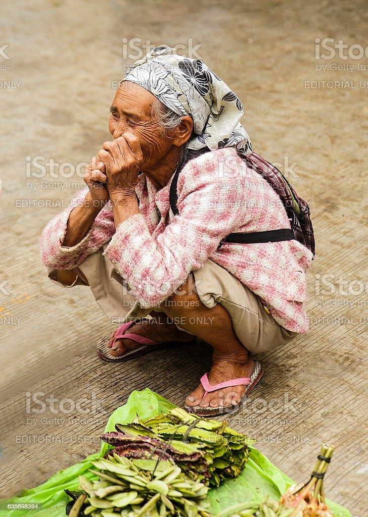 ancient woman-banaue market royalty-free stock photo