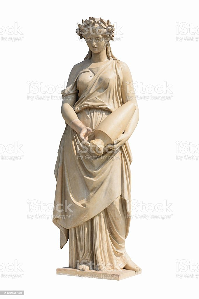 Ancient women statue in white background and clipping part stock photo
