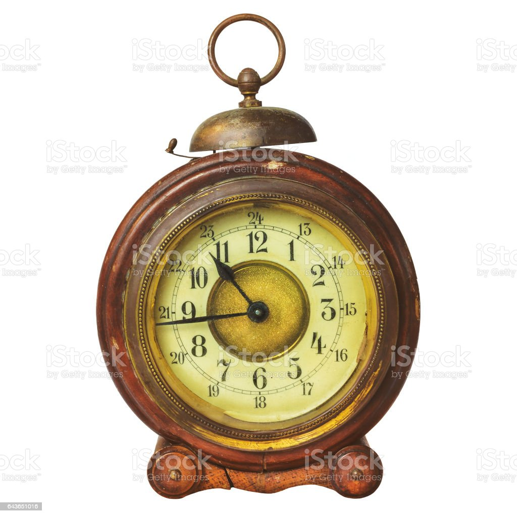 Ancient wooden alarm clock with bell stock photo
