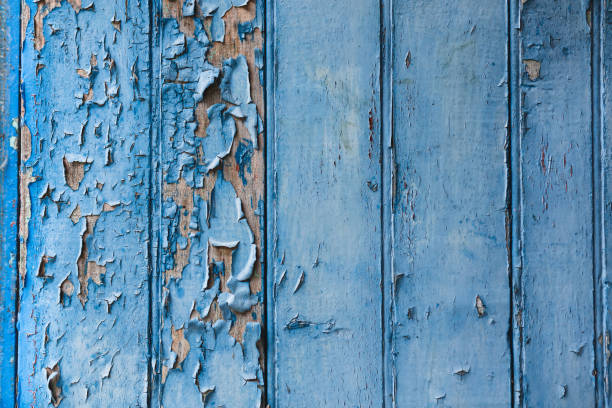 Ancient wooden blue door. stock photo