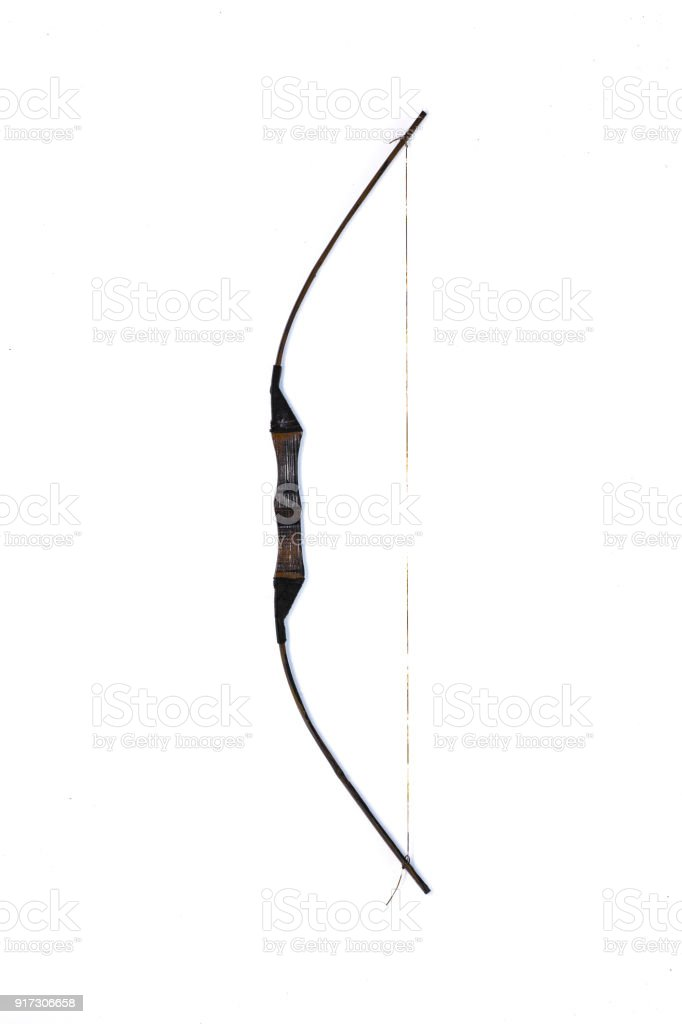 ancient wooden bow on white isolated background stock photo