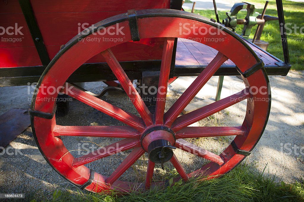 Ancient Wooden Cart Wheel In A Park Stock Photo & More