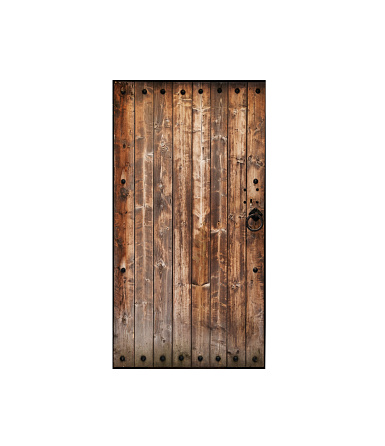 Ancient wooden door isolated on white background