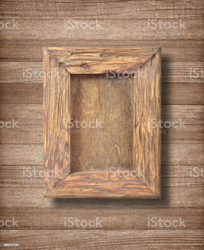 Ancient wooden frame on white background - Royalty-free Abstract Stock Photo
