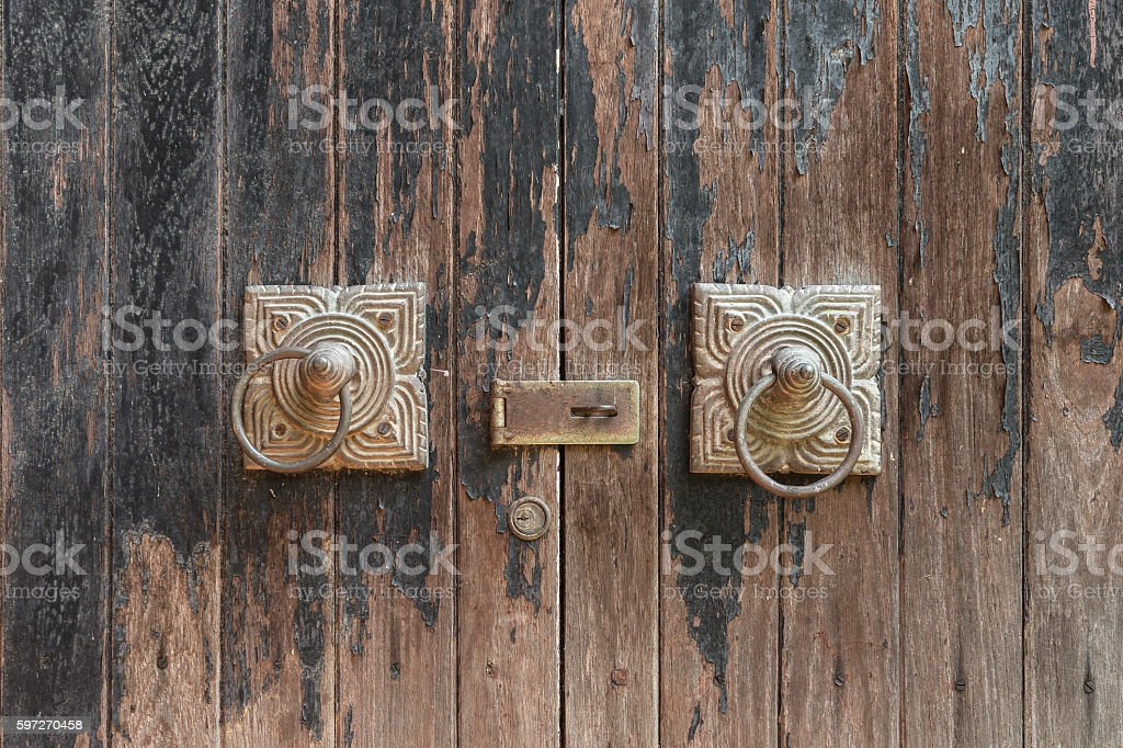 Ancient wooden gate, close up royalty-free stock photo