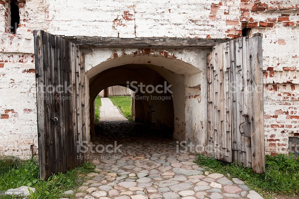 Ancient wooden gate royalty-free stock photo