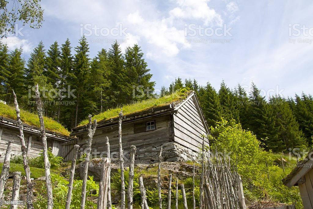 Ancient wooden huts, Sognefjord  region, west Norway stock photo