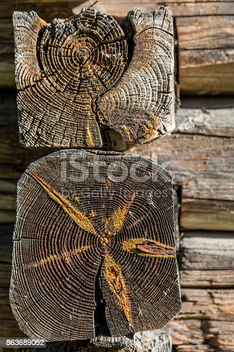 1124475954 istock photo Ancient wooden log barn corner background and texture 863689052