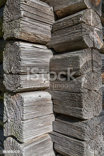 1124475954 istock photo Ancient wooden log barn corner background and texture 863690426