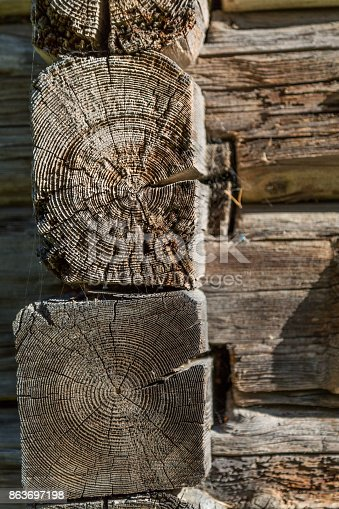1124475954 istock photo Ancient wooden log barn corner background and texture 863697198