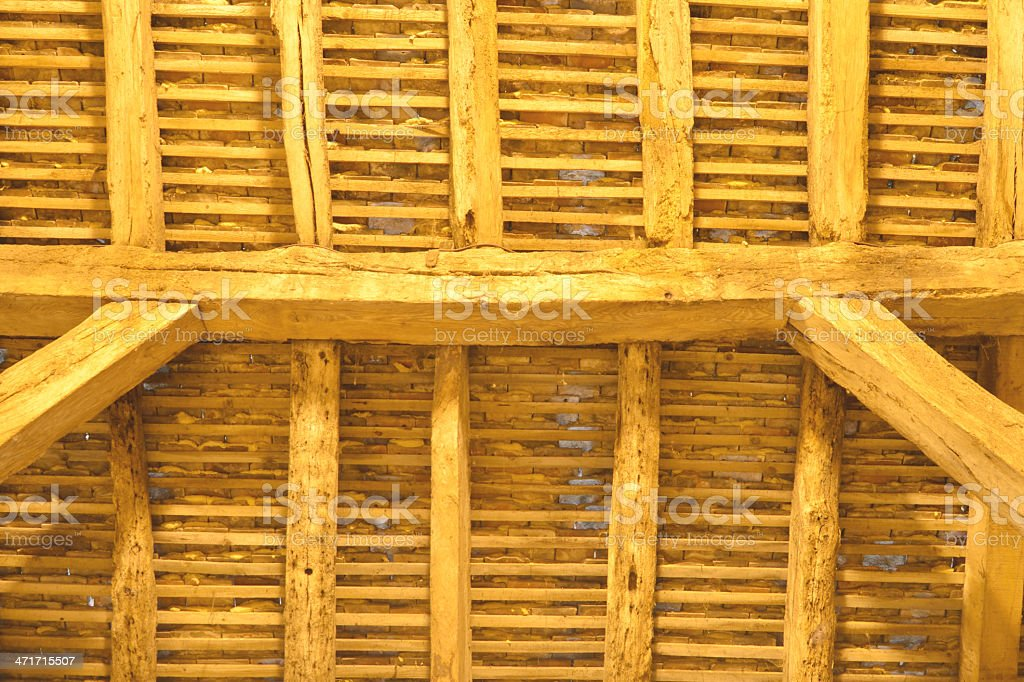 Ancient wooden roof detail stock photo