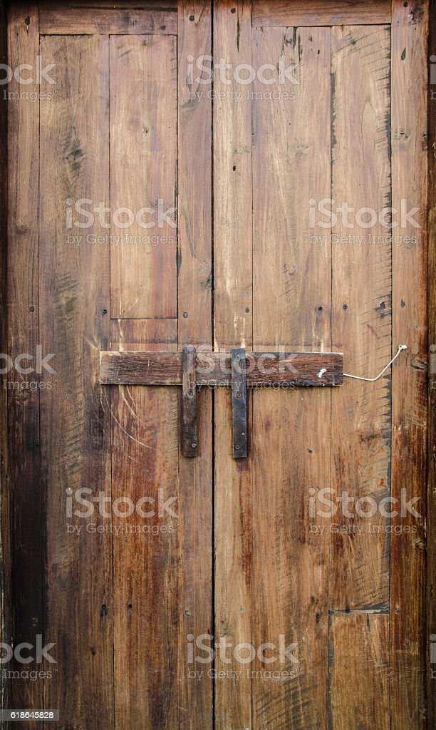 ancient wooden wall in countryside of Thailand stock photo