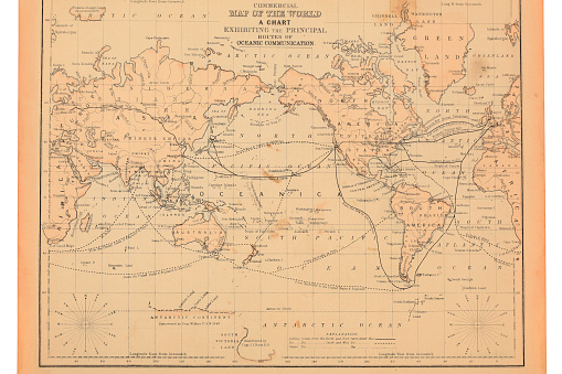 1800's ancient map of the world.
