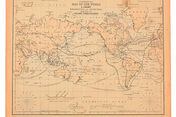 antigo mapa do mundo - oceano pacífico imagens e fotografias de stock