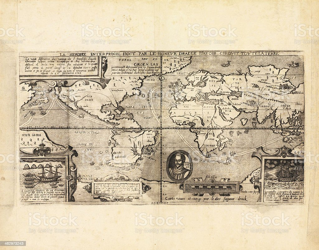 Ancient world map stock photo