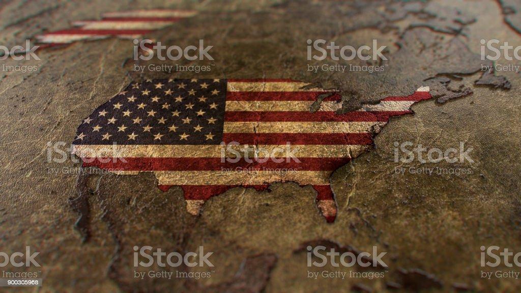Ancient World Map - USA stock photo