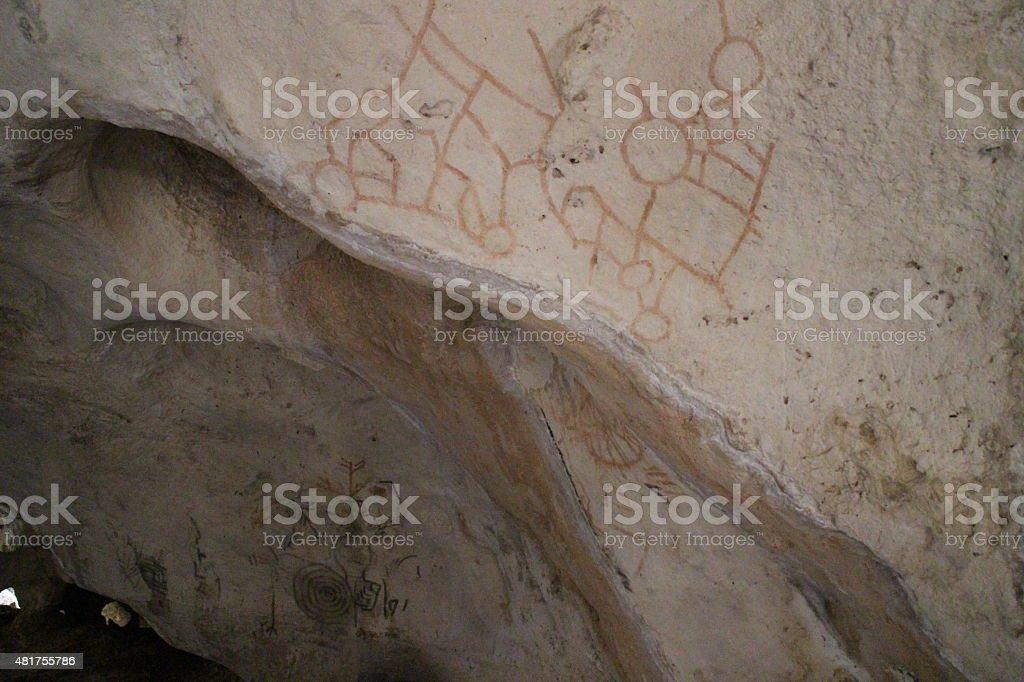 Ancient Yucatan Drawings insde a cave stock photo
