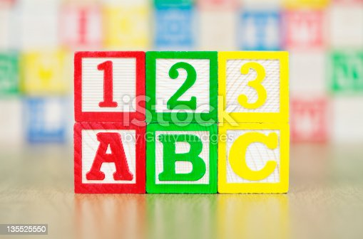 istock ABC and 123 Spelled Out in Alphabet Building Blocks 135525550
