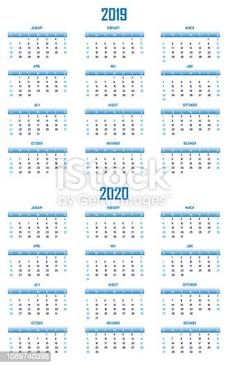 1124594277istockphoto 2019 and 2020 Modern Blue Calendar US Format 1059740398